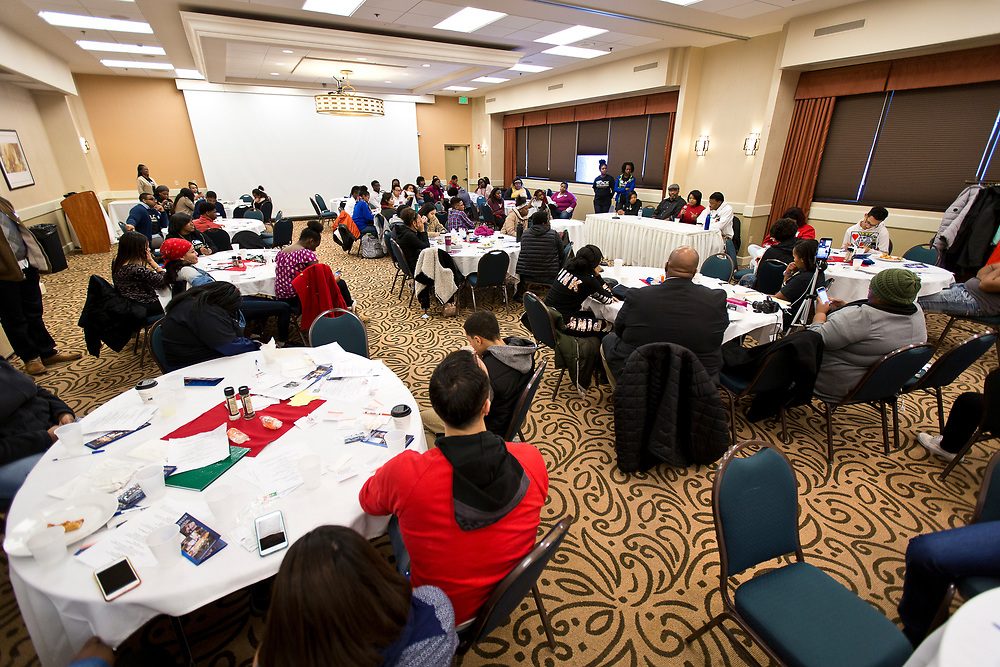 Students take part in the Black Excellence Youth Conference at the Best Western Plus Inntowner on Monday, Jan. 15, 2018.