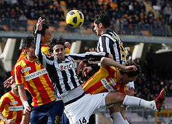 ITALY, Lecce :Aquilani Iaquinta J Munari L during the Serie A match between Lecce and Juventus at Stadio Via del Mare in Lecce on February 20, 2011. .AFP PHOTO / GIOVANNI MARINO