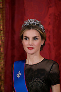 Queen Letizia of Spain attended a Gala Dinner in honour of Chilean President during her State Visit at Palacio Real on October 29, 2014 in Madrid