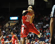 """Ole Miss vs. Illinois State's Jackie Carmichael (32) in a National Invitational Tournament game at the C.M. """"Tad"""" Smith Coliseum in Oxford, Miss. on Wednesday, March 14, 2012. (AP Photo/Oxford Eagle, Bruce Newman)"""