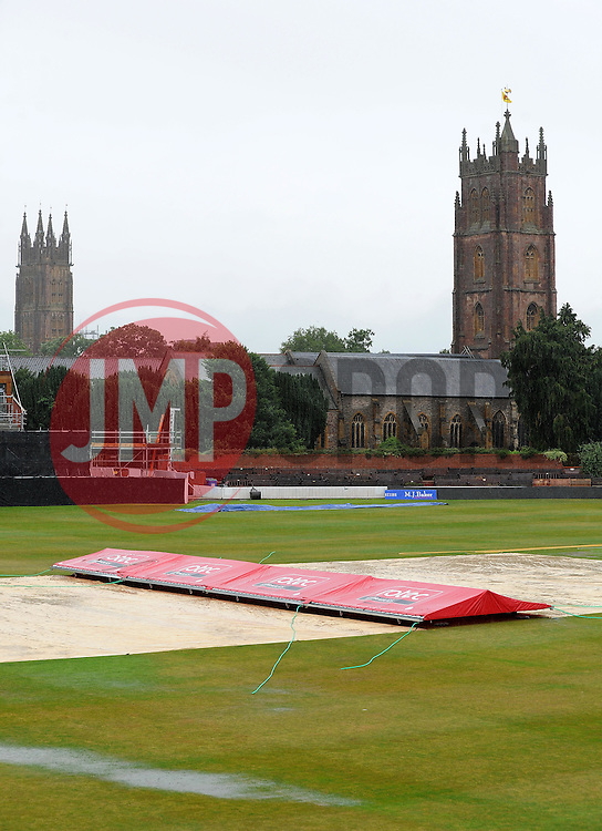 General view of the County Ground, Taunton as rain forces the game between Somerset and Middlesex to be abandoned. - Photo mandatory by-line: Harry Trump/JMP - Mobile: 07966 386802 - 24/07/15 - SPORT - CRICKET - Natwest T20 Blast - Somerset v Middlesex - The County Ground, Taunton, England.
