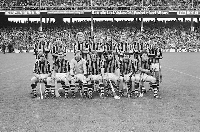 Kilkenny team during the All Ireland Senior Hurling Final in Croke Park - Kilkenny v Galway, Kilkenny 2-12, Galway 1-8, 2nd September 1979, Back row from left, Paddy Prendergast, Nicky Brennan, Matt Ruth, Richie Reid, Billy Fitzpatrick, Frank Cummins, MIck Crotty, Fan Larkin, .Front row from left- Joe Hennessy, Liam 'Chunky' O'Brien, Noel Skehan, Ger Fennelly captain, Mick Brennan, John Henderson, Ger Henderson.