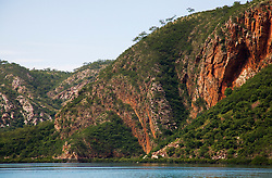 The cliffs in Cyclone Creek in Talbot Bay are evidence of hugh geological uplifting.  Cyclone Creek is near the iconic Horizontal Waterfalls.