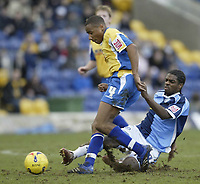 Photo: Aidan Ellis.<br /> Mansfield Town v Wycombe Wanderers. Coca Cola League 2. 24/02/2007.<br /> Wycombe's Matt Bloomfield (R) challenges Mansfield's Johnathon D'lareya