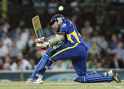 © Licensed to London News Pictures. 17/02/2012. Sydney Cricket Ground, Australia. Mahela Jayawardene plays a sweep shot behind his body during the One Day International cricket match between Australia Vs Sri Lanka. Photo credit : Asanka Brendon Ratnayake/LNP