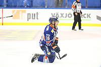 2018-09-22 | Växjö, Sweden: Växjö Lakers Austin Ortega (16) on his knees during the game between Växjö and Linköping at Vida Arena ( Photo by: Fredrik Sten | Swe Press Photo )<br /> <br /> Keywords: Ice hockey, Växjö, SHL, Växjö, Linköping, Vida Arena