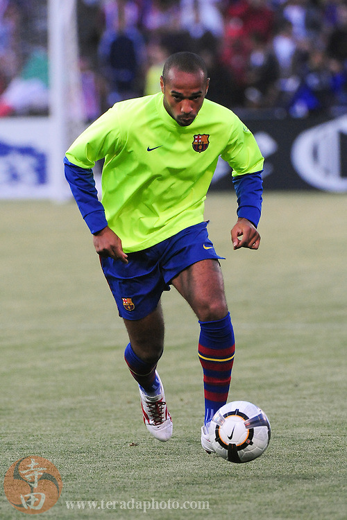 August 8, 2009; San Francisco, CA, USA; FC Barcelona forward Thierry Henry warms up before the match against Chivas de Guadalajara in the Night of Champions international friendly contest at Candlestick Park. The game ended in a 1-1 tie.