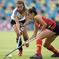 MONCHENGLADBACH - Junior World Cup<br /> Pool D: Germany - Spain<br /> photo: Anne Schroeder (white) and Maider Altuna (red).<br /> COPYRIGHT  FFU PRESS AGENCY/ FRANK UIJLENBROEK