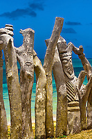 Carved posts (totem poles), St. Maurice Bay, near Vao, Ile des Pins (Isle of Pines), New Caledonia