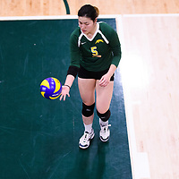 2nd year setter Satomi Togawa (5) of the Regina Cougars in action during Women's Volleyball home game on November 18 at Centre for Kinesiology, Health and Sport. Credit: Arthur Ward/Arthur Images