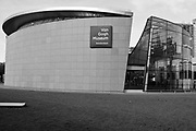 Exterior of the Van Gogh Museum, Amsterdam, Holland in B&W
