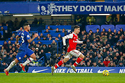 GOAL 1-1 Chelsea defender Emerson Palmieri (33) chases Arsenal forward Gabriel Martinelli (35) before his equaliser during the Premier League match between Chelsea and Arsenal at Stamford Bridge, London, England on 21 January 2020.