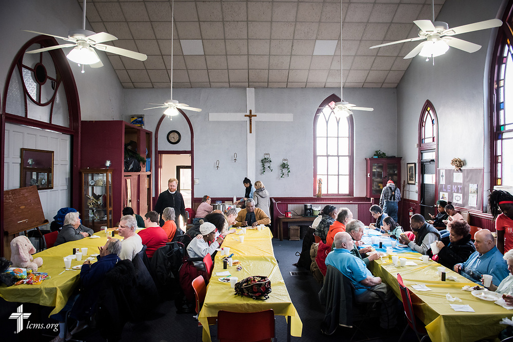 Members in the Lutheran Outreach Center for the Blind eat and play games of bingo at St. Thomas Lutheran Church, Baltimore, on Saturday, March 24, 2018. LCMS Communications/Erik M. Lunsford