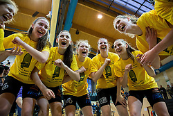 Players of Athlete Celje celebrate after winning the basketball game between ZKK Athlete Celje and ZKK Triglav Kranj in Final of Slovenian Women National Championship 2014, on April 16, 2014 in Celje, Slovenia. Athlete Celje won 3-0 and became Slovenian Women Basketball Champion 2014. Photo by Vid Ponikvar / Sportida