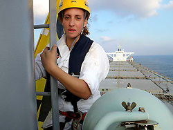 ISRAEL MEDITERRANEAN SEA JUL10 - Greenpeace activist Joanna Jones of Israel  boards the 290-meter long coal ship Orient Venus on the high seas to delay it from entering Israel. The action held is part of Greenpeace's campaign against building another coal power station in Israel...jre/Photo by Jens Lowe / Greenpeace