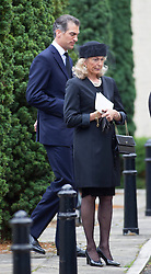 BRENTWOOD - UK - 11- SEPT - 2013: Britain's Prince Charles, The Prince of Wales,accompanied by Camilla, The Duchess of Cornwall and his sons Prince WIlliam and Prince Harry attend the funeral of Charles's close friend Hugh Van Cutsem at Brentwood Cathedral in Essex.<br /> Mrs Van Cutsem and son outside the Cathedral at the end of the service<br /> Photo by Ian Jones