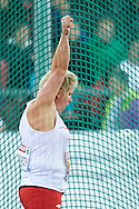 Anita Wlodarczyk from Poland celebrates her gold medal in women's hammer throw final during the Fourth Day of the European Athletics Championships Zurich 2014 at Letzigrund Stadium in Zurich, Switzerland.<br /> <br /> Switzerland, Zurich, August 15, 2014<br /> <br /> Picture also available in RAW (NEF) or TIFF format on special request.<br /> <br /> For editorial use only. Any commercial or promotional use requires permission.<br /> <br /> Photo by © Adam Nurkiewicz / Mediasport