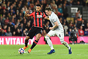 Lys Mousset (31) of AFC Bournemouth battles for possession with Phil Jones (4) of Manchester United during the Premier League match between Bournemouth and Manchester United at the Vitality Stadium, Bournemouth, England on 18 April 2018. Picture by Graham Hunt.