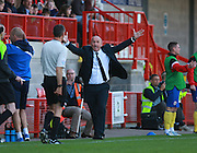 Accrington Stanley manager John Coleman appeaals to the referee for a decision during the Sky Bet League 2 match between Crawley Town and Accrington Stanley at the Checkatrade.com Stadium, Crawley, England on 26 September 2015. Photo by Bennett Dean.