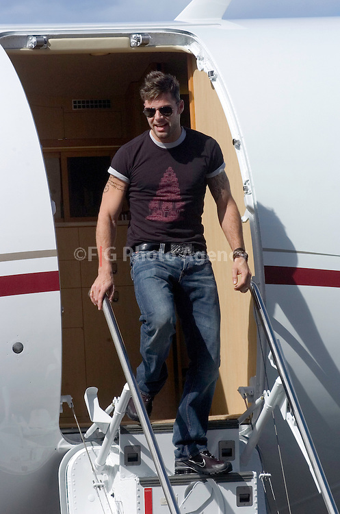 San Juan, Puerto Rico- Pop Star Ricky Martins arrives at Isla Grande Airport on a private jet, to perform on his homeland, Puerto Rico.