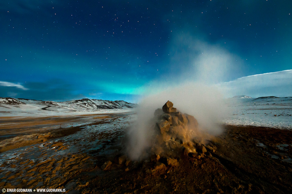 Námaskarð is a geothermal area near Mývatn, northeast-Iceland. Nightshots.