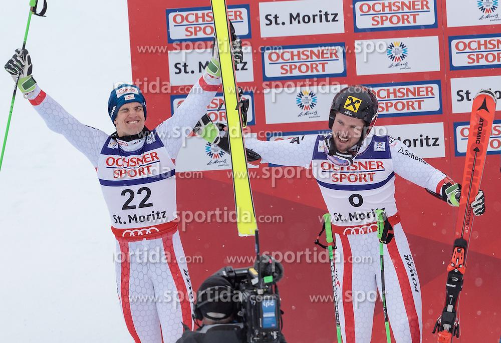 17.02.2017, St. Moritz, SUI, FIS Weltmeisterschaften Ski Alpin, St. Moritz 2017, Riesenslalom, Herren, 2. Lauf, im Bild v.l. Roland Leitinger (AUT, Herren Riesenslalom Silbermedaille), Marcel Hirscher (AUT, Herren Riesenslalom Weltmeister und Goldmedaille) // f.l. men's Giant Slalom Silver medalistRoland Leitinger of Austria men's Giant Slalom world Champion and Gold medalist Marcel Hirscher of Austria react after their 2nd run of men's Giant Slalom of the FIS Ski World Championships 2017. St. Moritz, Switzerland on 2017/02/17. EXPA Pictures © 2017, PhotoCredit: EXPA/ Johann Groder