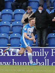 Colchester United's Tom Lapslie celebrates his goal. - Photo mandatory by-line: Dougie Allward/JMP - Mobile: 07966 386802 - 21/02/2015 - SPORT - Football - Colchester - Colchester Community Stadium - Colchester United v Bristol City - Sky Bet League One