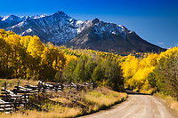 Autumn season along the Last Dollar Road below 12,208 ft. North Pole Peak of the Sneffels Range, Colorado.