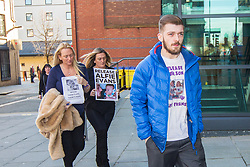 """DATE CORRECTION - IMAGES SHOT TODAY © Licensed to London News Pictures. 07/02/2018. Liverpool, UK. Tom Evans, father of Alfie Evans arrives with supporters at Liverpool Civil & Family Court this morning. Tom Evans and Kate James from Liverpool are in dispute with medics looking after their son 19-month-old son Alfie Evans, at Alder Hey Children's Hospital in Liverpool. Alfie is in a """"semi-vegetative state"""" and had a degenerative neurological condition doctors have not definitively diagnosed. Specialists at Alder Hey say continuing life-support treatment is not in Alfie's best interests but the boy's parents want permission to fly their son to a hospital in Rome for possible diagnosis and treatment. Photo credit: Andrew McCaren/LNP"""