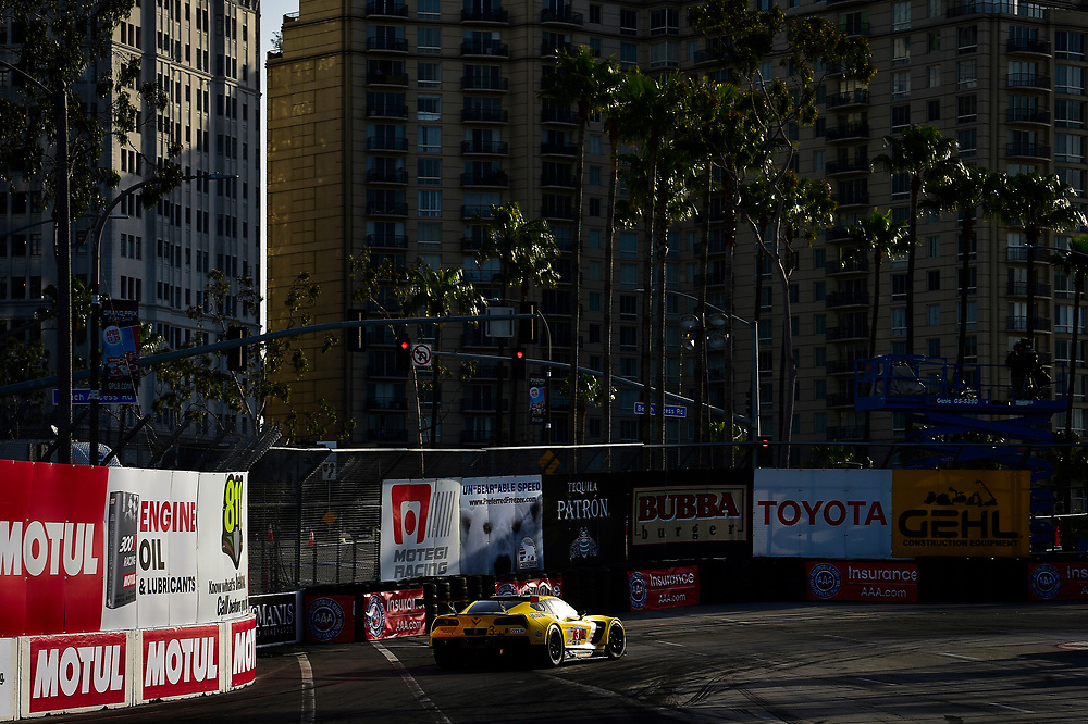 #3 Corvette Racing Chevrolet Corvette C7.R, GTLM: Antonio Garcia, Jan Magnussen<br /> Friday 13 April 2018<br /> BUBBA burger Sports Car Grand Prix at Long Beach<br /> Verizon IndyCar Series<br /> Streets of Long Beach CA USA<br /> World Copyright: Scott R LePage<br /> LAT Images