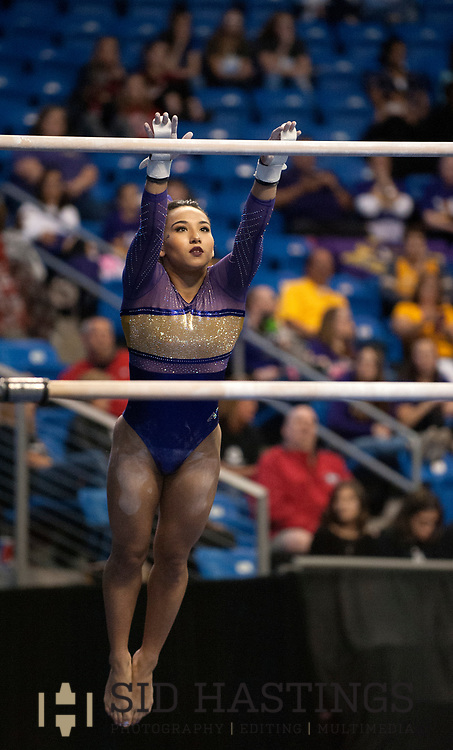 20 APRIL 2018 -- ST. LOUIS -- LSU gymnast Myia Hambrick competes in the Uneven Parallel Bars during the 2018 NCAA Women's Gymnastics Championship Semifinals in St. Louis Friday, April 20, 2018. LSU finished second in the semifinal, joining UCLA and Nebraska in advancing from the first semifinal into the Super Six championship round on Saturday.<br /> <br /> Photo &copy; copyright 2018 Sid Hastings.