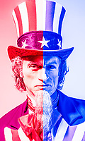 "An illustration using the Uncle Sam character showing divided US government between the ""Red"" and the ""blue"" / Republicans and Democrats."