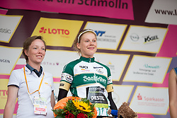 Aafke Soet (NED) of Parkhotel Valkenburg - Destil Cycling Team celebrates wearing the most active rider's jersey after Stage 4 of the Lotto Thuringen Ladies Tour - a 18.7 km individual time trial, starting and finishing in Schmolln on July 16, 2017, in Thuringen, Germany. (Photo by Balint Hamvas/Velofocus.com)