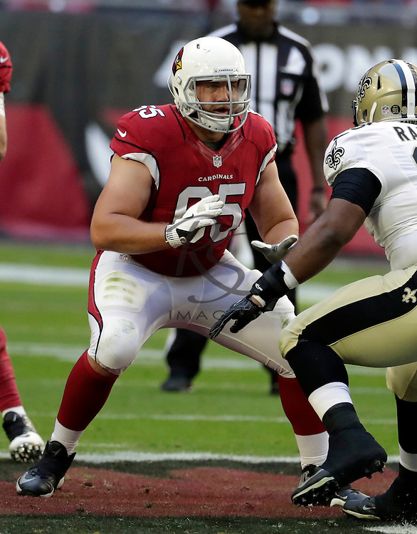 Arizona Cardinals center Taylor Boggs (65) during the first half of an NFL football game against the New Orleans Saints, Sunday, Dec. 18, 2016, in Glendale, Ariz. (AP Photo/Rick Scuteri)