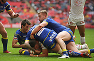Benjamin Garcia of Catalans Dragons scores the try against Warrington Wolves during the Ladbrokes Challenge Cup Final match at Wembley Stadium, London<br /> Picture by Stephen Gaunt/Focus Images Ltd +447904 833202<br /> 25/08/2018