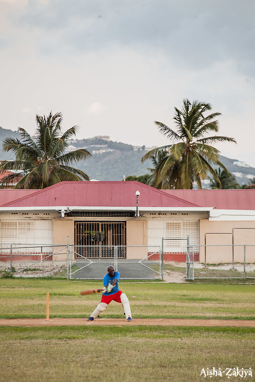 Hugh Reifer takes a swing.  Players of the 40 and over cricket team practice for an upcoming tournament at Addelita Cancryn field.  St. Thomas, USVI.  14 April 2015.  © Aisha-Zakiya Boyd