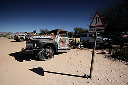 NAMIBIA SOLITAIRE 22APR14 - Old car wrecks on display at Solitaire petrol station near  the Naukluft National Park, Namibia.<br /> <br /> It currently features the only gasoline station, post office, bakery, and the only general dealer between the dunes at Sossusvlei and the coast at Walvis Bay, as well as to the capital Windhoek.<br /> <br /> jre/Photo by Jiri Rezac<br /> <br /> © Jiri Rezac 2014