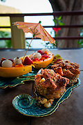 Papaya and bread pudding breakfast, Waipio Rim B&B, Waipio Valley, Hamakua Coast, Big Island of Hawaii