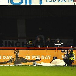 TELFORD COPYRIGHT MIKE SHERIDAN during the Vanarama Conference North fixture between AFC Telford United and Altrincham at The J Davidson Scrap Stadium (Moss lane) on Tuesday, February 4, 2020.<br /> <br /> Picture credit: Mike Sheridan/Ultrapress<br /> <br /> MS201920-045