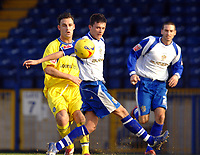 Photo: Paul Greenwood.<br />Bury FC v Wycombe Wanderers. Coca Cola League 2. 17/02/2007. Wycombe's Stefan Oakes passes the ball past Bury's Richie Baker
