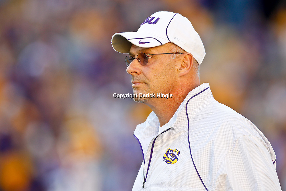 October 16, 2010; Baton Rouge, LA, USA; LSU Tigers offensive coordinator Gary Crowton watches during warm ups prior to kickoff of a game against the McNeese State Cowboys at Tiger Stadium.  Mandatory Credit: Derick E. Hingle