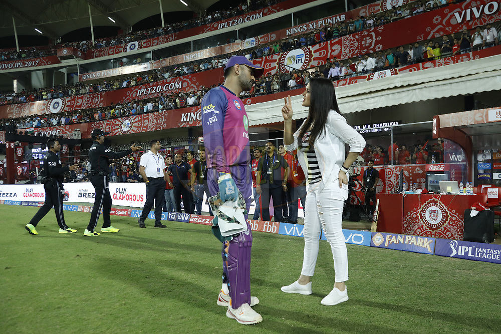 Rising Pune Supergiant  MS Dhoni  chat with Preity Zinta owner of Kings XI Punjab after the match 4 of the Vivo 2017 Indian Premier League between the Kings X1 Punjab and the rising Pune Supergiant held at the Holkar Cricket Stadium in Indore, India on the 8th April 2017<br /> <br /> Photo by Arjun Singh - IPL - Sportzpics