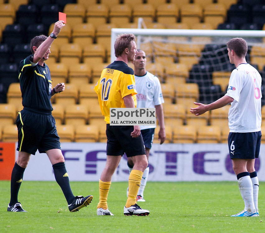 Referee Craig Thomson shows the red card to Falkirk's Stewart Murdoch (6), Livingston v Falkirk, SFL Division 1