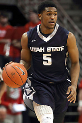 16 November 2014:  Julion Pearre during an NCAA non-conference game between the Utah State Aggies and the Illinois State Redbirds.  The Aggies win the competition 60-55 at Redbird Arena in Normal Illinois.