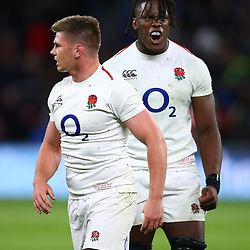 LONDON, ENGLAND - NOVEMBER 03: Owen Farrell (co-captain) and Maro Itoje of England during the Castle Lager Outgoing Tour match between England and South Africa at Twickenham Stadium on November 03, 2018 in London, England. (Photo by Steve Haag/Gallo Images)