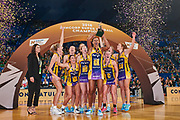 Sunshine Coast Lightning celebrate with coach Noeline Taurua after winning the final.<br /> PERTH, AUSTRALIA - AUGUST 26: West Coast Fever vs the Sunshine Coast Lightning during the Suncorp Super Netball Grand Final match from Perth Arena - Sunday 26th August 2018 in Perth, Australia. (Photo by Daniel Carson/dcimages.org/Netball WA)