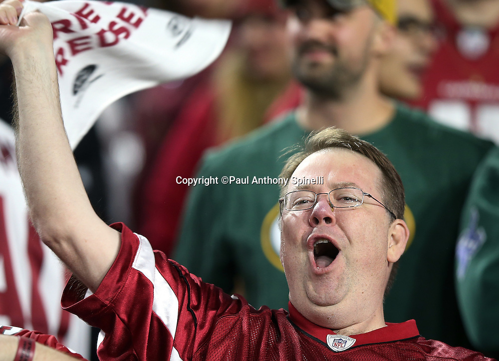 An Arizona Cardinals fan waves a towel and yells out after the Arizona Cardinals win the NFL NFC Divisional round playoff football game against the Green Bay Packers on Saturday, Jan. 16, 2016 in Glendale, Ariz. The Cardinals won the game in overtime 26-20. (©Paul Anthony Spinelli)