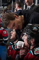 KELOWNA, CANADA - NOVEMBER 29: Kelowna Rockets' athletic therapist Scott Hoyer attends to the cut lip of Cal Foote #25 of the Kelowna Rockets on the bench against the Prince George Cougars on November 29, 2017 at Prospera Place in Kelowna, British Columbia, Canada.  (Photo by Marissa Baecker/Shoot the Breeze)  *** Local Caption ***