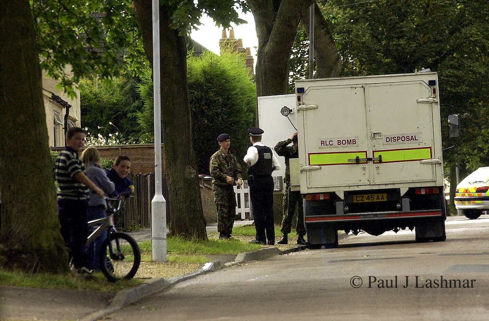 Army bomb Disposal officers are called to ahouse on Naseby Road in Kettering Northamptonshire after the occupants turned up rusting World War One shells that may have been dumped in the area when it was once a waste site.