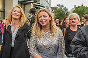 Charlotte Church arrives to be greeted by a throng of media and supporters. A prayer and short speech are made outside the Shell HQ but access is blocked by Police and security. The  Welsh singer, performs outside Shell HQ as part of month long protest against Arctic drilling from Greenpeace. The protest involves a classical orchestra performing a daily Requiem for the Arctic Ocean. Shell Centre, Southbank, London, UK 26 Aug 2015